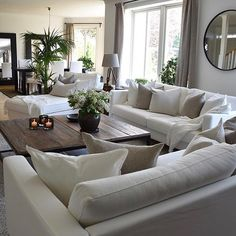 This is the furniture layout I want. home decor ideas cozy living rooms Cozy Living Rooms, New Living Room, Living Room Interior, Apartment Living, Home And Living, Living Room Neutral, Living Room With Plants, Monochromatic Living Room, Cozy Apartment