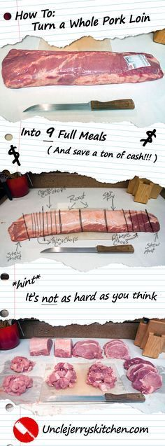 Fantastic How to Turn a Whole Pork Loin Into 9 Full Meals. Save a Ton of money, and it's easier than it sounds! The post How to Turn a Whole Pork Loin Into 9 Full Meals. Save a Ton of money, an . Frugal Meals, Cheap Meals, Budget Meals, Freezer Meals, Pork Meals, Food Budget, Easy Meals, Cooking Tips, Cooking Recipes