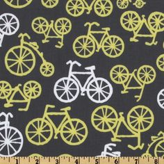 Michael Miller Citron Gray Bicycles Citron from From Michael Miller Fabrics, this cotton print fabric features white and citron bicycles tossed on a grey background. Use fabric for quilts, home décor accents, craft projects and apparel. Vintage Sports Nursery, Free Pattern Download, Scrapbook Background, Jewelry Roll, Michael Miller Fabric, Little Boy Fashion, Fat Quarter Shop, Fabric Shower Curtains, Curtain Fabric