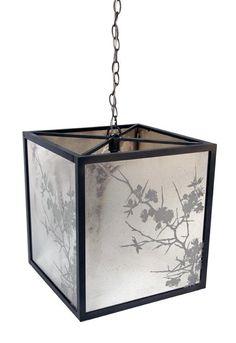 Square mirror pendant light