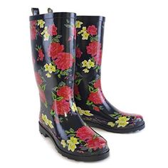Ladies Navy with Floral Print Tall Wellies  Wellington Boots US 7 ** Want to know more, click on the image.