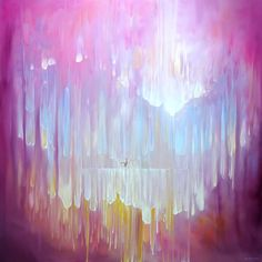 Somewhere Waiting is a large semi abstract square oil painting of a mythical landscape with deer Abstract Landscape Painting, Fantasy Landscape, Landscape Paintings, Abstract Art, Landscapes, Pink Painting, Large Painting, Oil Painting Gallery, Art Tutor