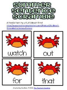 A piece of my It's Beach Time! unit!http://www.teacherspayteachers.com/Product/Its-Beach-Time-Math-Literacy-Centers...