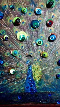 Peacock Button Art.  The Beauty of the Natural World Lies In the Details. Deco design. on Etsy, $49.00