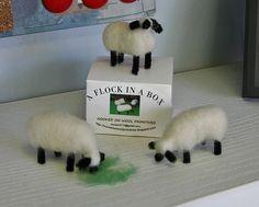 3 Minature Sheep  A Flock In A Box  Needle by FeltingWoolPrimitive, $29.00