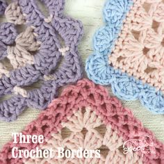 Three crochet borders to finish off your latest project from crochet bloggers / designers Lynne Rowe, Emma Varnam and Cherry Heart.