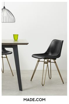 The brass hairpin legs and rivet detail give the Kendal dining chair a cool urban edge. It's an easy way to bring an on-trend industrial look to your home.