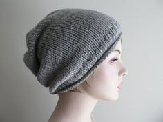 Digital PDF Knitting Pattern Instant Download Grey Hipster Slouchy Beanie  Hat Mens Womens Boys Girls Slouchy 570ff99b645