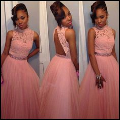 Charming Evening Formal Gown,Long Evening Dress,Tulle Backless Prom
