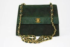 d82cc54f02dc Vintage Chanel Green Suede Flap Bag at Rice and Beans Vintage Vintage  Chanel Bag, Green