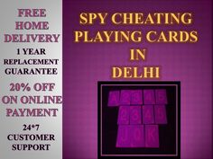 For best varieties of Spy Cheating Playing cards in Delhi,Latest Spy Store presenting heavy discount as well as 1 year replacement warranty with best quality assurance. For more information : visit http://www.007detective.in/spy-cheating-playing-cards-delhi-india.html