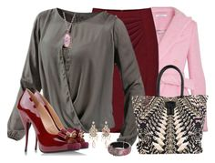 """""""Gray, Pink & Red"""" by daiscat ❤ liked on Polyvore"""
