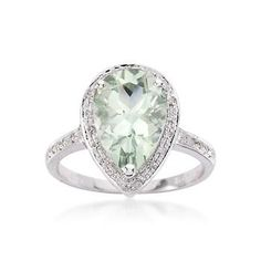 $371.25 2.80 Carat Green Amethyst and .15 ct. t.w. Diamond Ring in 14kt White Gold.  Ross Simons
