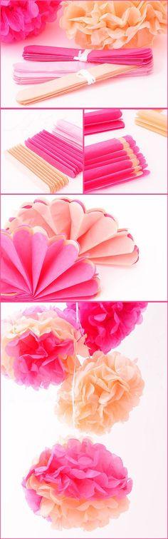DIY de Bodas: Como hacer pompones de papel de dos colores (Blog con ideas originales para organizar tu boda.)