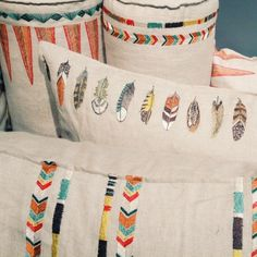 Coral Tusk pillows new fall/winter collection How To Make Pillows, Diy Pillows, Throw Pillows, Textiles, Embroidery Patterns, Hand Embroidery, Coral And Tusk, Tribal Patterns, Embroidery Techniques