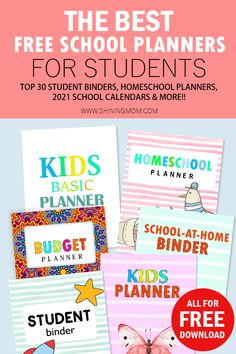 Click to download school planners and student printables all for free. Includes homeschool planner, student binder, kid planner and more! #freeprintables #student #school #freeplanner #studentprintables