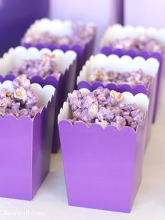 Purple Popcorn - Liz on Call I don't know anyone who can stop eating this purple popcorn. It's a great party treat that can be customized any color to match your party.
