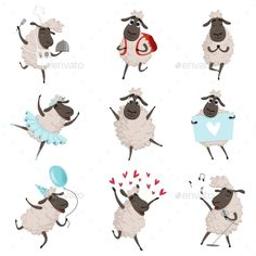 Buy Funny Cartoon Sheeps in Various Action Poses by ONYXprj on GraphicRiver. Funny cartoon sheeps in various action poses. Diy Father's Day Crafts, Eid Crafts, Funny Sheep, Cute Sheep, Cartoon Drawings, Animal Drawings, Cute Drawings, Sheep Illustration, Character Illustration