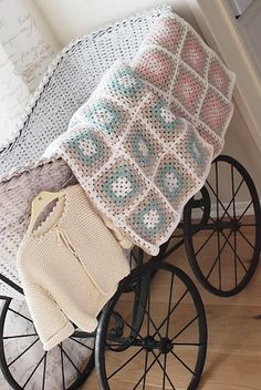 baby blankets - love the soft/simple colors + pattern Baby Blanket Crochet, Crochet Baby, Knit Crochet, Kids Blankets, Granny Square Blanket, Simple Colors, Love Crochet, Crochet Fashion, Tricks