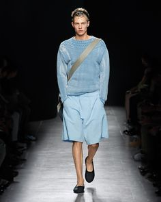 OUT OF THE BLUE In the palest hue of a morning sky, a chunky cotton knit and crinkle shorts have the feel of worn-in favorites. #BottegaVeneta #SS15