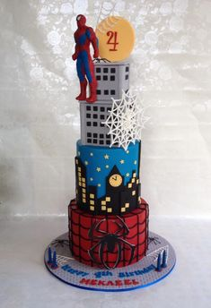 I loved creating this spider man cake.Its my second superhero cake. Design credit goes to SWEET PICASSO CAKES. Toddler Birthday Cakes, Superhero Birthday Cake, Novelty Birthday Cakes, Torta Paw Patrol, Spiderman Theme, Avenger Cake, Diy Cake Topper, Cupcake Party, Cakes For Boys