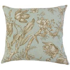 Bloomsbury Market Duval Floral Floor Pillow Color: Seaglass