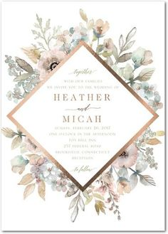 Diamond Blossoms - Signature Foil Wedding Invitations - Lady Jae - Aloe - Green : Front