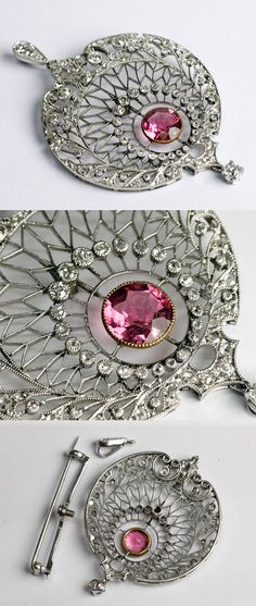 Pink tourmaline, diamond and platinum brooch/ pendant, France, ca.1910-1920, pink tourmaline, diamonds, platinum, 4.5 × 3.5cm, 12g