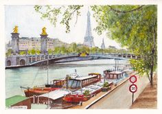Barges moored on the right bank of the River Seine, upstream of the Pont Alexandre III in Paris. Pencil, ink and watercolour painting by Dai Wynn on 300 gsm medium surface Arches french cotton paper. 21 cm high by 29.5 cm wide (8.25 inches by 11.75 inches) approximately – A4 standard size.  To check on the availability of the original for purchase, please visit http://www.daiwynn.com/artist/barges-on-the-seine/