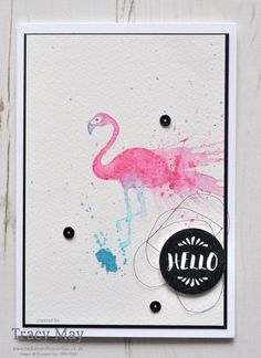 We love the look of this faux watercolor technique with the flamingo from the Pop of Paradise stamp set! #stampinup
