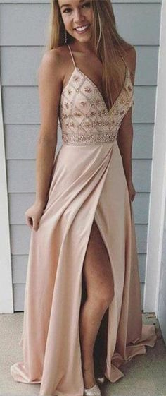 Spaghetti straps prom dresses,long prom dress, beaded prom gown,party dress with side slit Beige Prom Dresses, Pretty Prom Dresses, Gala Dresses, Prom Dresses Blue, Prom Party Dresses, Trendy Dresses, Homecoming Dresses, Formal Dresses, Prom Dress Long