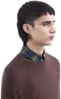 Acne Studios Clissold O Grape Purple Crew neck sweater Fohawk Haircut Fade, Mullet Haircut, Mullet Hairstyle, Mens Mullet, Asian Mullet, Mens Nails, Korean Men Hairstyle, Mullets, Grunge Hair