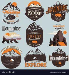 Adventure t-shirt print set. Outdoor expedition typography, poster with mountain. - Adventure t-shirt print set. Outdoor expedition typography, poster with mountains and bear. Hiking Logo, Outdoor Logos, Mountain Logos, Bear Mountain, Marken Logo, Affinity Designer, Badge Logo, Retro Logos, Badge Design