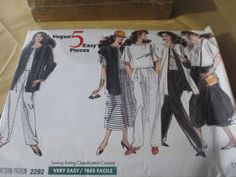 Vintage 80's Vogue 5 Easy Pieces Pattern 2292 - Misses' Co-ordinating Jacket, Vest, Top, Skirt & Pants z 14/16/18 Uncut by GwensHaberdashery on Etsy