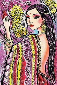Indian bride art beautiful Indian woman painting by EvitaWorks Indian Women Painting, Indian Paintings, Indiana, Painting Prints, Art Prints, Feminine Decor, Illustration Girl, Illustration Fashion, Affordable Art