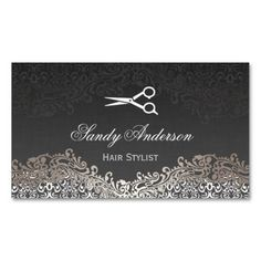 Vintage Elegant Silver Damask - Indie Hair Stylist Double-Sided Standard Business Cards (Pack Of 100)