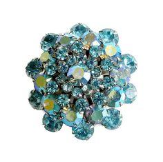 Rhinestone Snowflake Domed Brooch Blue Aurora Borealis Layered Vintage by…