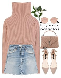"""love you to the moon and back"" by grodell ❤ liked on Polyvore featuring Valentino, RE/DONE, Zara, Yves Saint Laurent and Ray-Ban"