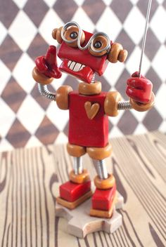 Robot Sculpture Mini Photo Sign Holder RED by RobotsAreAwesome