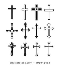 Similar Images, Stock Photos & Vectors of Crucifix cross hand drawn sketch paint brush vector icon set. Christianity orthodox, catholic religion isolated symbols set for Easter, funeral or grave memorial. Cross Tattoo For Men, Cross Tattoo Designs, Cross Designs, Christian Symbols, Christian Crosses, Catholic Religion, Orthodox Catholic, Cross Drawing, Religious Cross