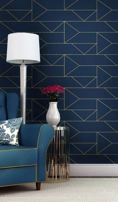 Navy Blue and Gold - temporary wallpaper, possible option for master bedroom wall Temporary Wallpaper Bedroom, Wallpaper Bedroom, Decor, Accent Wall Bedroom, Decorating Your Home, Bedroom Design, Vinyl Wallpaper, Home Wallpaper, Home Decor