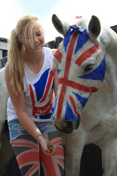 Team GB pride - face painting the horse and rider in the union jack.  does anyone else miss the olympics like me?