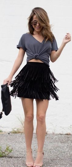 The Style Bungalow Black Fringed Skirt Outfit Idea