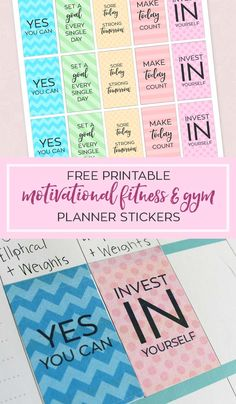 Free Printable Motivational Gym and Fitness Planner Stickers sized perfectly for The Happy Planner.