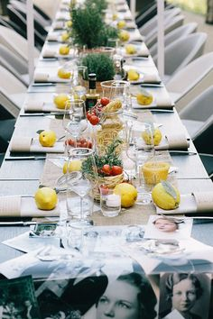 Italian wedding table decor. Loving the spaghetti in containers and fresh lemons on the table.