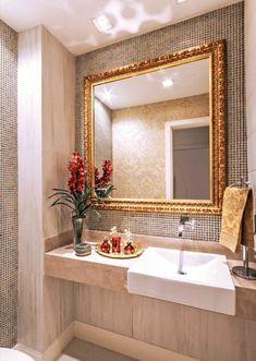 Elegant bathroom with pops of red Bad Inspiration, Bathroom Inspiration, Home Decor Inspiration, Bathroom Design Luxury, Modern Bathroom, Ideas Baños, Interior Decorating, Sweet Home, New Homes