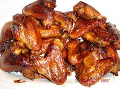 From my celebrity recipe collection; they sound perfect for a football party!  The smell while these sticky wings bake in the oven is amazing.