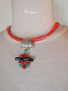 Pendentif ethnique caractère chinois perles naturelles corail et turquoise idéal…