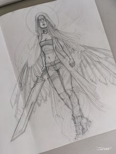 Angel sketch, Sasha Alekseeva on ArtStation at https://www.artstation.com/artwork/8wZzm
