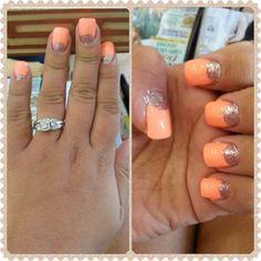 Peach & Silver nails